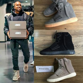 750 Boost Glow In The Dark Brown Kanye West Leather Ankle Boots Men S Sport Running Shoes - Beauty Ticks