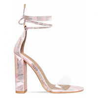 Harley Pink Camouflage Clear Lace Up Block Heels : Simmi Shoes