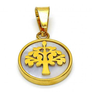 Stainless Steel 05.300.0003 Fancy Pendant, Tree Design, with Ivory Mother of Pearl, Polished Finish, Golden Tone