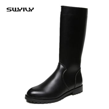 Fashion Waterproof Riding Boot Black Solid Knee-high Casual Men Shoes Leather Motorcycle Boots bota masculino Plus Size 37-44