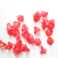 Red Mini Trumpet Flower Bead - Acrylic Flower Beads - Jewelry Making Supply