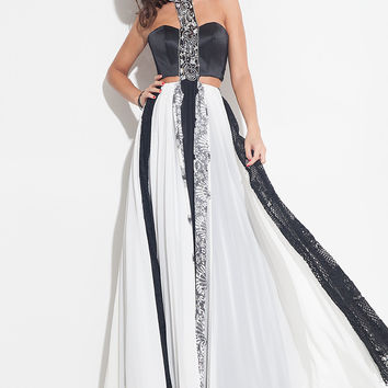 Rachel Allen 7212 Black/White Size 8 chiffon flowy prom dress, evening gown