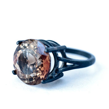 Monster Natural Champagne IMPERIAL TOPAZ - Black Oxidized Silver Ring by LoveGem Studio, dgc