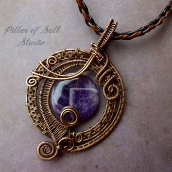 Amethyst Wire Wrapped pendant necklace, wire wrapped jewelry handmade, copper jewelry, wire jewelry, woven wire, purple