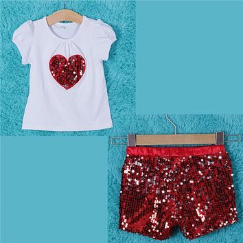 Fashion Baby Toddlers Girls Kids Chidren Geometry round neck short sleeve Top Short Pants Cotton Outfit Sets