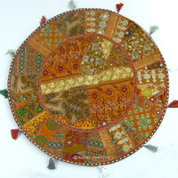 "32"" Oversized Indian Vintage Multicolor Patchwork Round Floor Pillow Cushion Cover Sham"