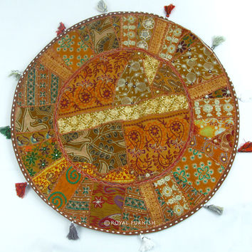 """32"""" Oversized Indian Vintage Multicolor Patchwork Round Floor Pillow Cushion Cover Sham"""