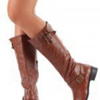 Bamboo Asiana-08N Buckle Riding Knee High Boot