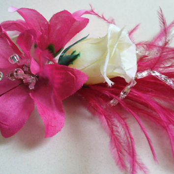 Hot Pink Buttonhole Men's Corsage - Ostrich Feather, Glass Beaded, Groom, Civil Partnership, Floral, Mother of the Bride, Ivory Rose