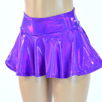 "Purple Holographic 10"" Long Rave Skirt"