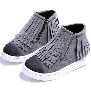 Round Toe Zip Ankle Fringe Shoes For Girls