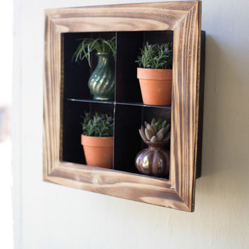 Metal with Wooden Frame Wall Display with 4 Cubbies