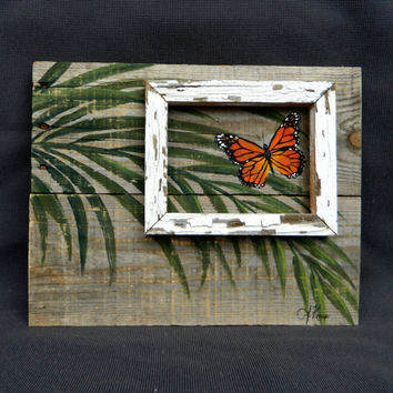 Hand painted butterfly with palm leaves, Beach, Wall art, barnwood, Reclaimed Wood Pallet Art, Rustic and Shabby Chic