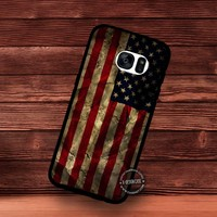Grunge American Flag Background with Folds - Samsung Galaxy S7 S6 S5 Note 7 Cases & Covers