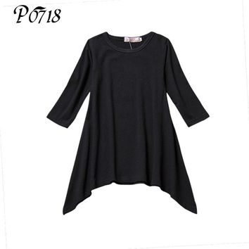 Baby Girl Autumn Dress Max Batwing Loose Asymmetric 2018 Long Sleeve Toddler Girl Dress Kids Costume Casual Black Gray Clothes