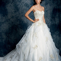Alfred Angelo 899 Strapless Ruffle Ball Gown Wedding Dress