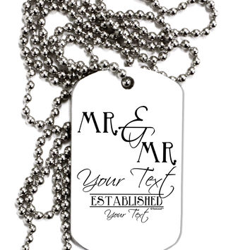 Personalized Mr and Mr -Name- Established -Date- Design Adult Dog Tag Chain Necklace