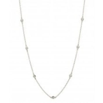 Silver Tone CZ Station Chain Necklace