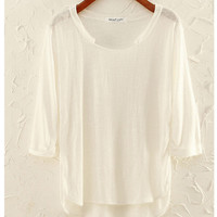 Folded Sleeve with Side Slit Long Back Knitted Blouse