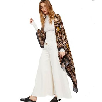 Womens Summer Blouse Bathing Suit Cover Ups Tunic Beach Kimono Fashion Pareo Robe Floral Printed Long Kaftan Sexy Hawaiian Robe