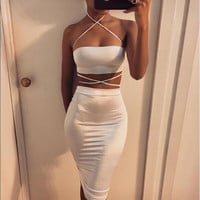 2016 New Sexy Nightclub strapless Dress Sexy two  piece bodycon dress Women Clothing  Sleeveless Party  2 Piece outfits Dress