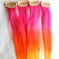 RAINBOW OMBRE Single Clip Hair Extensions 18 in. Set of 4 | Boho, Summer, Music Festivals, Hippie, Tie Dye