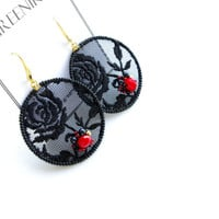 Black lace earrings - Elegant embroidered black lace earrings with black and red glass pearls - sexy black evening dress earrings