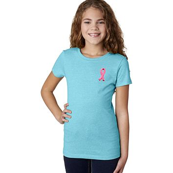 Girls Breast Cancer T-shirt Embroidered Pink Ribbon Pocket Print