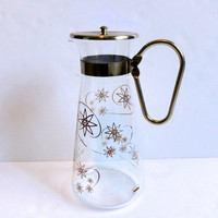 Atomic Coffee Pot by Corning Ware Brass Accents Mid Century Modern