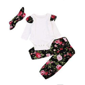 Newborn Baby Girls Clothes Sets Long Sleeve Tops Romper Floral Pants Headbands 3Pcs Clothing Outfits Set Baby Girl