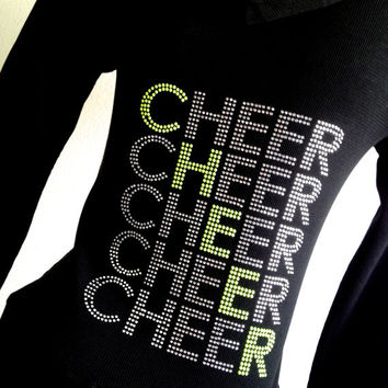 Rhinestone Cheer Zip Up Hoodie Jacket Silver & Neon Green