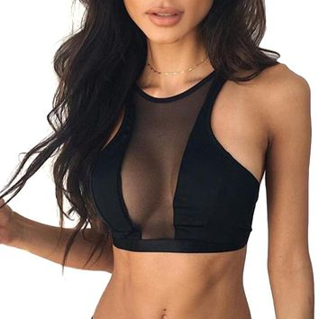 Hot Sexy Mesh Bras For Women Patchwork Bralette Crop Top 2017 Summer Work Out Fitness Bra Black Sheer Bralet Tank Tops Lingeries