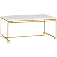 Simply Elegant Gilded Iron Coffee Table | White