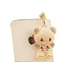 Miss Darcy New Style Pearl Bear Rhinestone Pendant Headphone Jack Plug Anti-Plug Stopper for iPhone 4 4s 5 5s Samsung Galaxy Note 2 i9300 i9500 HTC Sony Golden