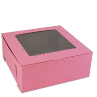 "Pink 10"" Window Bakery Box"