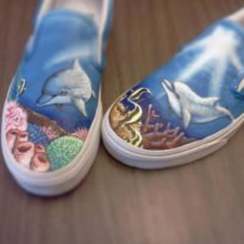 Custom Vans Shark Sea Life Hand painted Shoes Ocean Painting Kicks Unique Dolphin Sneakers Nature Inspired Fish