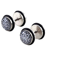 316l Surgical Steel Unisex Barbell Ear Stud Plugs Earrings Eardrop Fake Punk 18 Guage 1mm