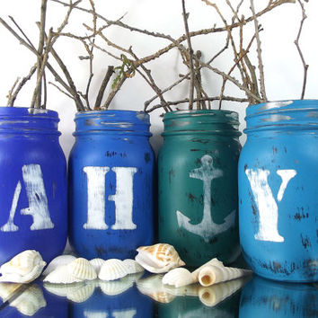 AHOY, Blue Mason Jar Vase Set -- Nautical, Beach Decor -- Table Centerpiece | Rustic - Style Home Decor or Wedding Decor