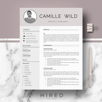 Professional CV Template | Resume for Word | One, two page resume templates | Resume template instant download | CV / Resume design + Tips