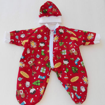 "bitty baby clothes Handmade  Doll 15"" Boy, Girl Twins RED Christmas Reindeer Penguin Print,  Sleeper Pajamas, Cap Hat"