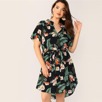 Boho Multicolor Plus Size Tropical Print Belted Midi Dress Regular Sleeve V Neck Casual Beach Vacation Dresses