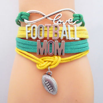 Infinity  Love MOM football Team NFL Bracelet orange Dark blue Customized NCAA Wristband friendship Bracelets B09045