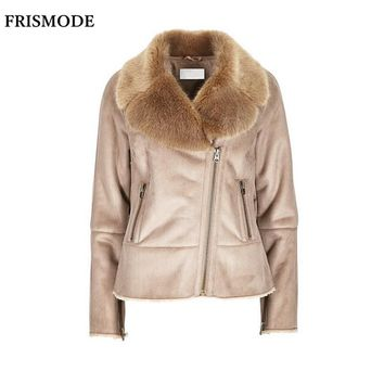 S-7XL Winter Female Faux Fur Shearling Jacket 2017 Fashion Thick Warm Casual Plus Size Women Suede Leather Double-faced Fur Coat