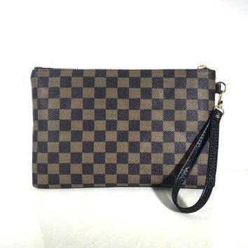 LV Louis Vuitton Trending Women Men Casual Handbag Business Envelope Purse Bag Dark Brown