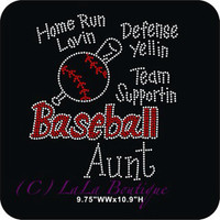 Blue green or red Baseball aunt iron on rhinestone heat transfer - DIY team sports appliqué aunt mom sister grandma