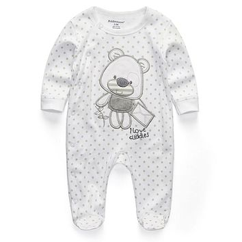 Unisex baby romper Newborn Clothes cartoom Dot Bear Infant 0 3 6 9 12 months Roupas de bebe Baby boys girls clothing Pajamas