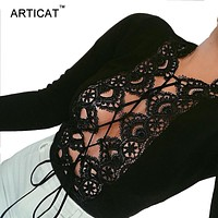 Articat Sexy Lace Bodysuit Women Tops Autumn Long Sleeve Hollow Out Bandage Rompers Womens Jumpsuit Body Lace Up Party Overalls