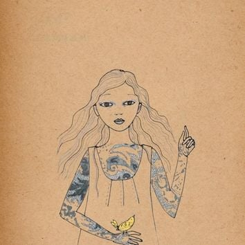 Girl with Tattoo print of original drawing by IrenaSophia on Etsy