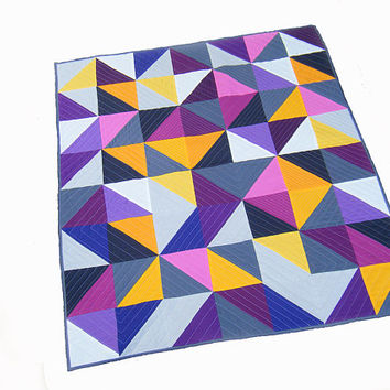 Modern geometric quilt, baby quilt, wall hanging, crib quilt, solids, triangles - orange, grey, purple, pink