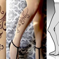 Small/ Medium sexy FLORA tattoo tights / stockings / full by post